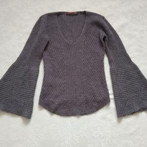 French brand v-neck sweater oversize bell sleeve
